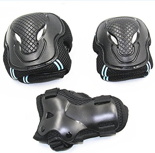 168cm Snowboard (Roller Blading Elbow Knee Wrist Protective Safety Gear Pad Guard 6pcs Set (Blue, M(155-168cm)))