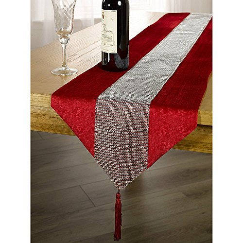 OZXCHIXU(TM 13inch x 72inch Table Runner with Diamante Strip and Tassels (red) ()