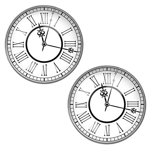 LilMents Time Clock Watch Face Mens Womens Stainless Steel Stud Earrings from LilMents