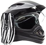 Dual Sport Helmet Combo w/Gloves - Off Road Motocross UTV ATV Motorcycle Enduro - Matte Black, Black - XXL