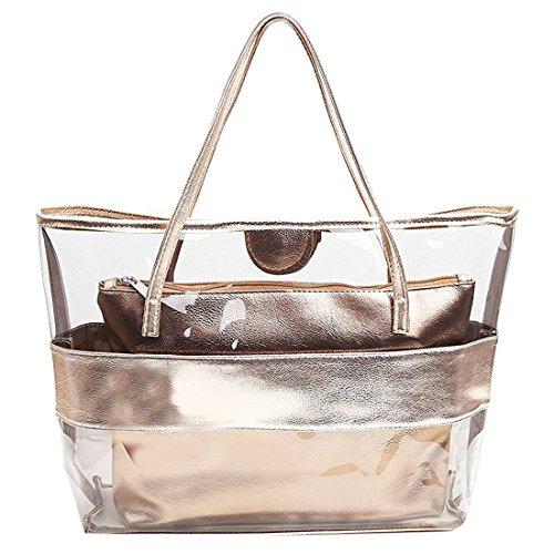 mujer Bolsa de Mano - TOOGOO(R) Impermeable Mitad Transparentes Bolsa de Mano, Bolso de Playa del PVC y Poliester con el Bolso Cosmetico Pequeno (dorado) color de champan