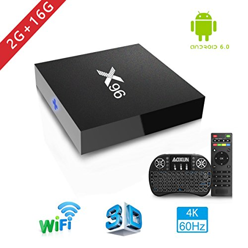 Android TV Box - Smart TV Box with Quad Core X96 Android 6.0 TV Box Amlogic S905 2G RAM 16GB ROM H.265 64 Bit WiFi By Aoxun [2018 Version] … by Aoxun