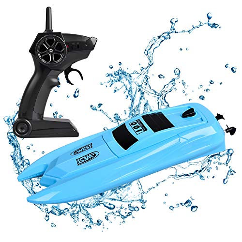 Remote Control Boat, 2.4GHz 14KM/H High Speed Electric Remote RC Boat for Pools Lakes RC Racing Boats for Adults & Kids with Long Battery Life (Blue)