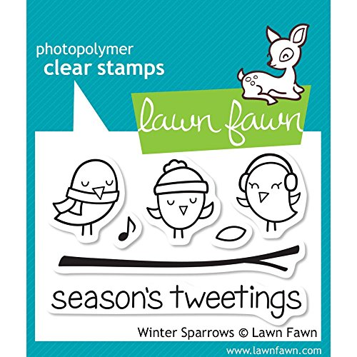 Lawn Fawn - Clear Acrylic Stamps - Winter Sparrows (Acrylic Lawn Fawn Stamps)