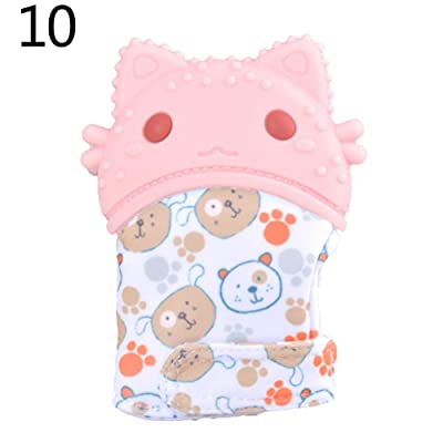 Aland-2Pcs Infant Baby Anti Scratch Silicone Sound Grinding Teeth Mitten Glove Teether - 10#: Toys & Games