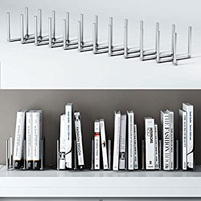 """Adjustable Book Holder Bookend 11 Sections Extends up to 39"""" Length Stainless Steel Unique Design"""