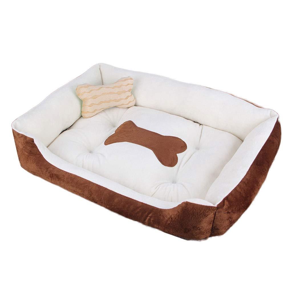Brown 120×90cm Brown 120×90cm Xue Yue Bone Square Pet Nest, Large Medium Small Dog Teddy Cat Dog Bed, Short Plush Pet Supplies Non-slip Mat (color   Brown, Size   120×90cm)