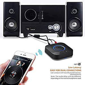 Bluetooth Receiver, Hi-Fi Wireless Audio Adapter, 1Mii Bluetooth 4.2 Adapter with 3D Surround aptX Low Latency for Home Music Streaming Stereo System (Upgraded Version with Power Adapter)