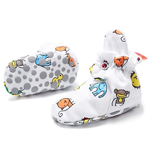 SH Cartoon Pattern Cotton Slipper Socks Anti Slip Snap Unisex Baby Booties ()