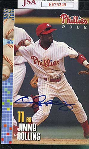 JIMMY ROLLINS JSA Autograph Team Photo Postcard Authentic Hand Signed from KHW HALL OF FAME GALLERY