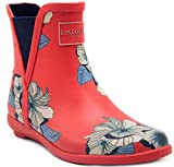 London Fog Womens Piccadilly Rain Boot Red Petals 8 M US