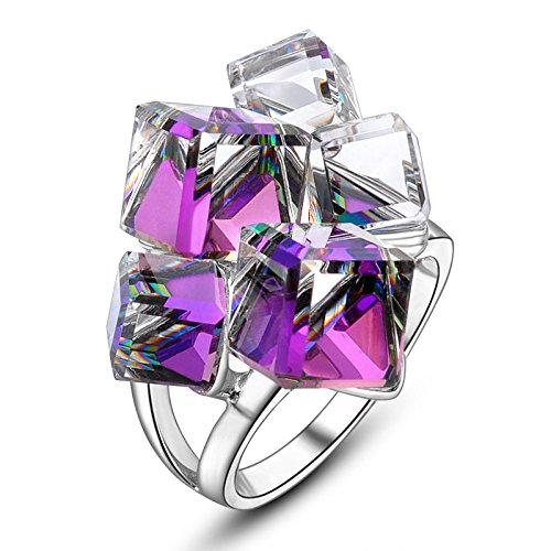 dnswez Purple Color Change 3D Cubic Crystals Cluster Statement Cocktail Rings for Women(6.25)
