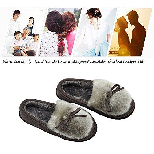 D'intérieur Pantoufles Chausson Gris Chaussons Confortable Femmes Peluche Et Femmes Hommes Pantoufles xOZwxqz