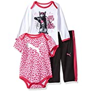 PUMA Baby Girls Three Piece Creeper Bodysuit Set, Black, 0-3 Months