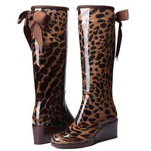 Odema Wig Vrouwen Knie Hoge / Midden Kalf Regenlaarzen Strikje Zijrits Waterdichte Schoenen Laarzen Kniehoge Luipaard