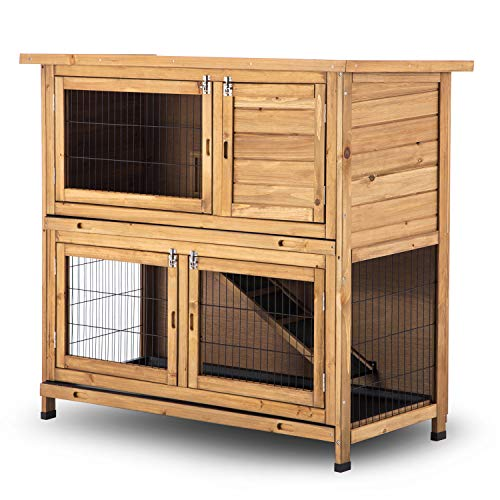 Story Animal Cage Small (Lovupet Wooden Chicken Coop Rabbit Hutch Bunny Cage Wooden Small Animal Habitat w/Tray 4 Doors)
