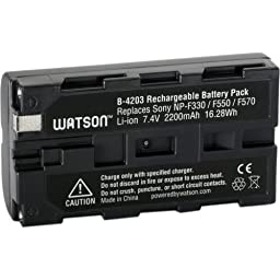 Watson NP-F550 Lithium-Ion Battery Pack (7.4V, 2200mAh) -Replacement for Sony NP-F550 Battery Sony DCR-SD1000 , DCR-SR40 , DCR-TRV900 , DCR-VX2000 , DCR-VX2100 , DCR-VX2200 , DSC-D700 , DSC-D770 , DSC-F505V , DSC-F55V , DSC-P1 , HDR-AX2000 , HDR-FX1 , HDR