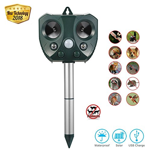 Electronic Animal Repellent - AG-So-So Solar Animal Repellent Ultrasonic Pest Repeller Solar Powered Electronic Cat Deterrent Outdoor Waterproof Animal Scarer Farm Garden Yard repellent for Cat, Dog, Bird, Squirrel, Fox, Skunk
