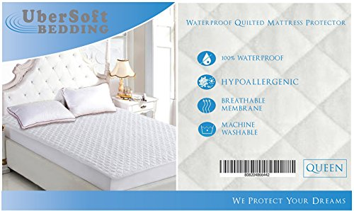 Waterproof Hypoallergenic Mattress Pad Protector Quilted Pillow-Top Queen Bed Padding Topper 60 x 80 Stretches to 18 Inches Deep