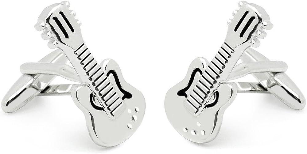 HONEY BEAR Guitar Cufflinks for Mens Steel Shirt Wedding Business Gift Silver