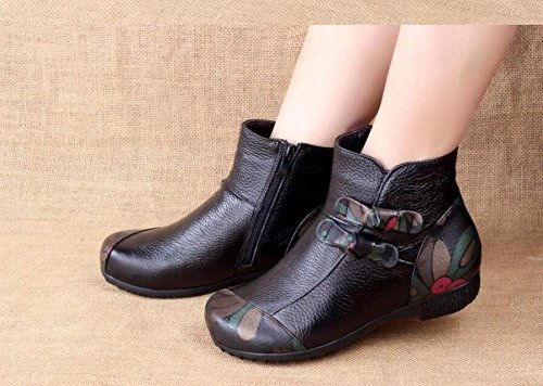 Middle Leather Aged Single Boots Folk Flowers Thirty Round With Floral Style Mother Boots GTVERNH seven Cashmere Shoes Handmade Cotton Boots Vintage Z6wqUdB