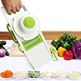 Mandoline Slicer, JTDEAL 5 in 1 Multi-functional Vegetable Cutter Food Chopper & Cheese Grater Kitchen Set with 5 Interchangeable Sharp Stainless Steel Blades, Easy Grip Non-slip Handle and Protective Hand Guard, Best Hand-held Easy Chip for Potato Chips, Tomato, Carrot, Radish, Cucumber, Wire Cheese, Lime, Onion