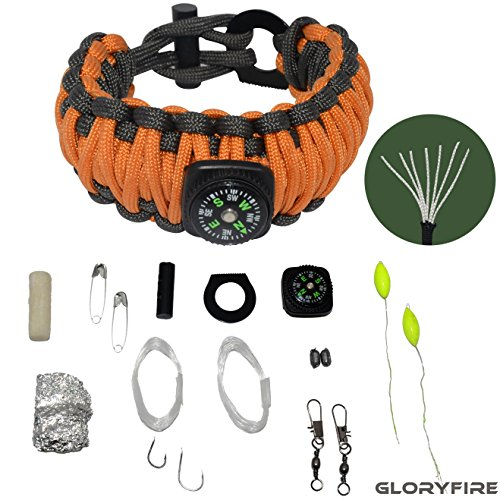 GLORYFIRE Paracord Bracelet with 19 in 1 Compass 550lbs Military-grade Nylon Multifunctional Outdoor Survival Gear Flint Fire Starter Fishing Camping Kit with Scraper Orange (19 Inch 3 Strand)