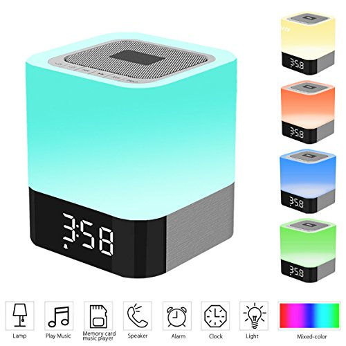 Night Light &Bedside Lamp with Bluetooth Speaker 4.0, Alarm Clock, MP3 Player,Sleep Timer,Hands-free Calls- TF card / AUX supported -by ICODE Sports
