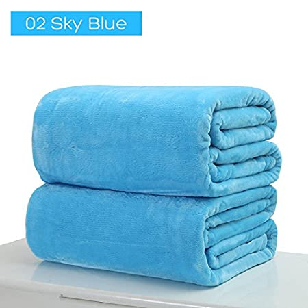 Manta de forro polar Rungao, de peluche suave y cálido, de franela, color sólido, polar, azul, 50 x 70 cm color sólido