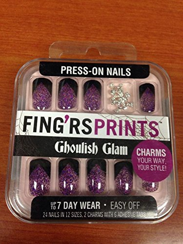 Press-on Nails - Purple Glitter Tips, Black Accent - Press On Nails Skull