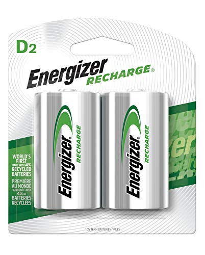 Energizer Rechargeable D Batteries, NiMH, 2500 mAh, 2 count - Packaging May Vary