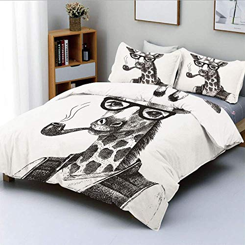 Percale Sheet Giraffe Set - SINOVAL Giraffe Smoking Pipe Dressed Up Fancy Zoo Animal Hipster Style Drawing Retro College Dorm Room Decor Decorative Custom Design 3 PC Duvet Cover Set Twin/Twin Extra Long