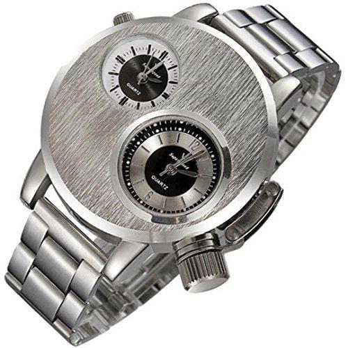 Auwer Watches,Men's Quartz Wristwatch Fashion Men's Stainless Steel Date Military Sport Quartz Analog Wrist Watch (Silver) from Auwer