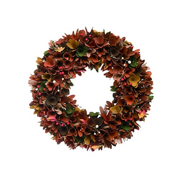 One Holiday Way Whimsical Wood Curl Flower Harvest Wreath -Hanging Fall Decoration