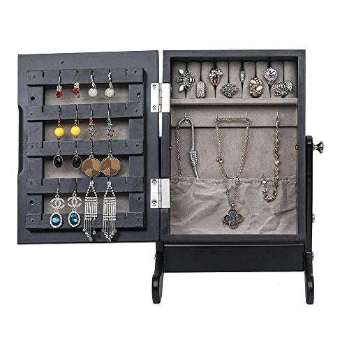 FRITHJILL Small Mirror Jewelry Cabinet,Jewelry Storage Box Mini Table Tilting Jewelry Organizer,Black (Jewelry Armoire Top Table)