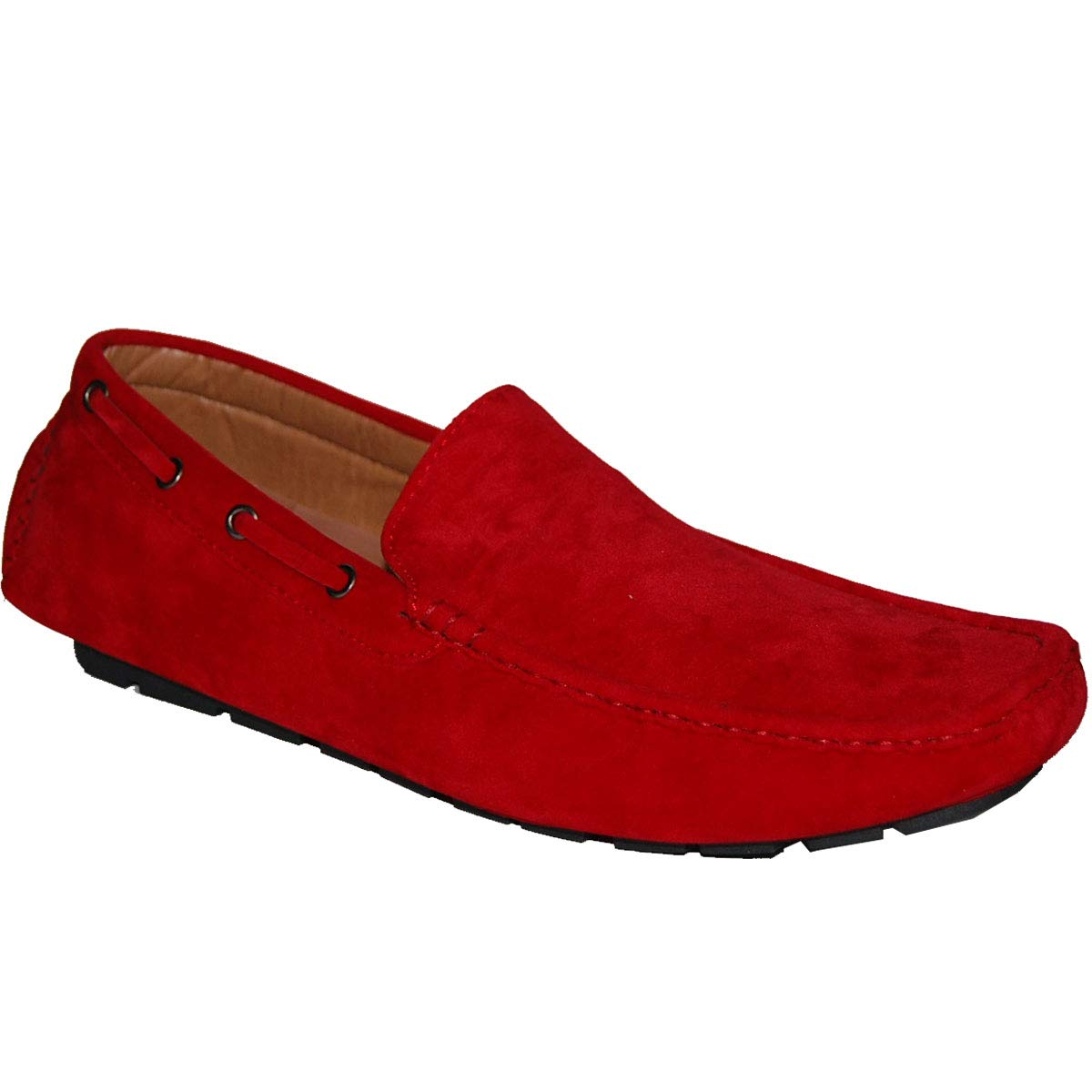 KRAZY SHOE ARTISTS Success Red Suede Look Mens Loafer Driver Shoes