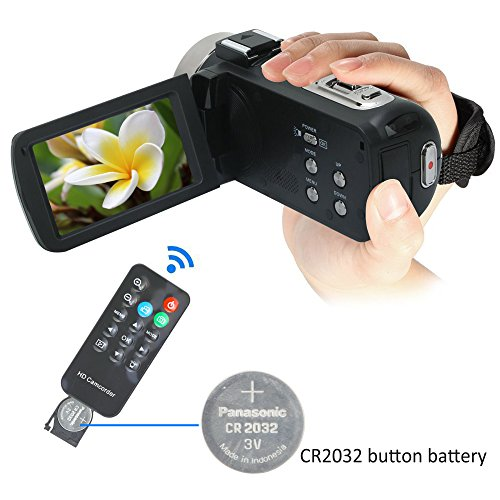 Camera Camcorders,Onshowy Remote Control Infrared Night Vision Handy Camera HD 1080P 24MP 16X Digital Zoom Video Camera with Microphone and 3.0″ LCD 270 Degree Touchscreen and 2 Batteries (Black)