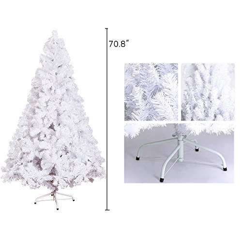 KARMAS PRODUCT 6 Ft High Christmas Tree 800 Tips Decorate Pine Tree With Metal Legs White With Anti-dust Bag by KARMAS PRODUCT (Image #3)