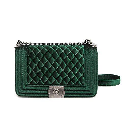 Green Pochette - Stephanie Big Handbag Quilted Chain Bag Blue Velvet Women Bags Pochette Sac Femme Women Shoulder Bags Crossbody Bags Green