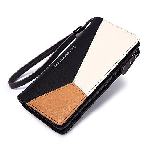 Women Wallet Leather Long Bifold Wristlet Clutch Fashion Ladies Purse Card Holder Organizer with Zipper Buckle black