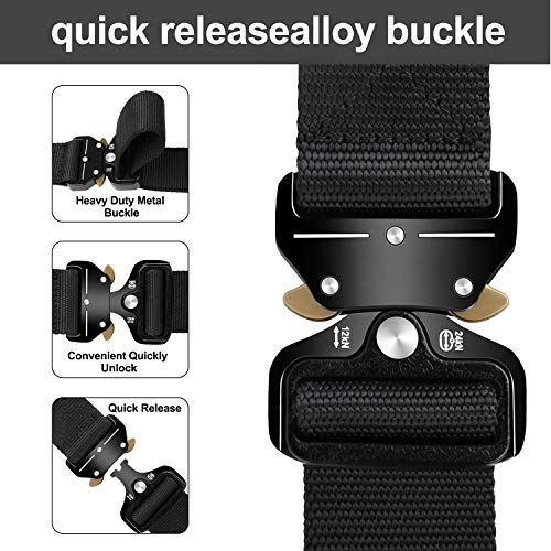 EnzeroTools Tactical Belt, Military Style Webbing Riggers Web Belts Heavy-Duty Quick-Release Metal Buckle Belt with Tactical Molle Pouch & Hook