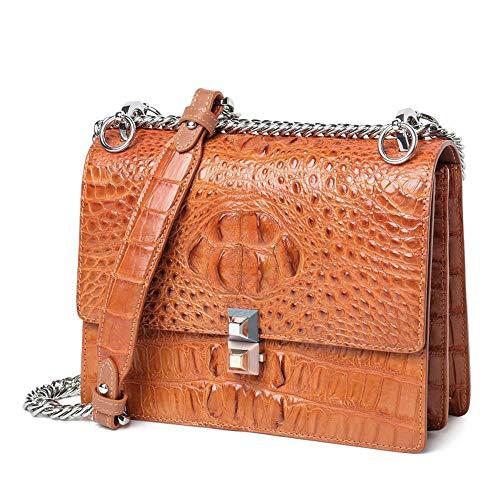 E WWAVE Main Femmes chaîne bandoulière pour Main à à Dames Cuir Fashion Sac Sacs Crocodile brown Sac à Sac pwqrTxpnC