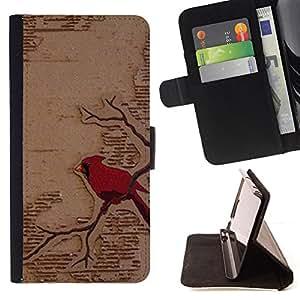 RED BIRD BRANCH BOOK ART FAIRYTALE/ Personalizada del estilo del dise???¡Ào de la PU Caso de encargo del cuero del tir????n del soporte d - Cao - For Apple Iphone 5 / 5S