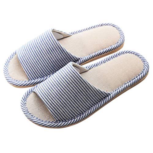 Quatre Rayures HUYP Femmes Bleu Automne Et Fond Pantoufles Saisons Intérieur Printemps Couleur 41 Mode Plat Pantoufles Bleu Taille Filles wIqp4xq