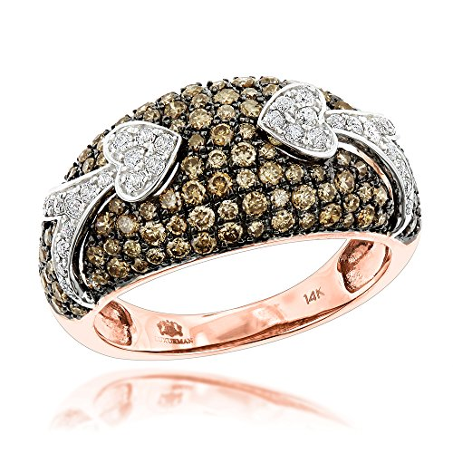 Unique Luxurman 14K Champagne Natural 1.5 Ctw Diamonds Right Hand Ladies Ring (Rose Gold Size - Diamond Ring Champagne Natural 14k