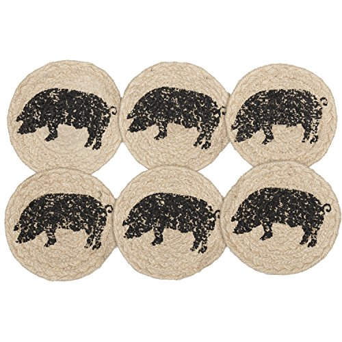 (VHC Brands Farmhouse Tabletop Kitchen Miller Farm Charcoal Pig Jute Stenciled Nature Print Round Coaster Set of 6, One Size, Bleached White )