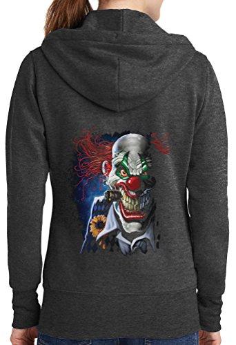 Womens Joker Clown Full Zip Hoodie, Dark Heather, 3X