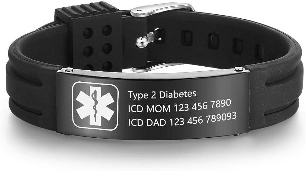 Grand Made Pulseras personalizadas de id médica de alerta de 9