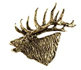Creative Pewter Designs, Pewter Elk Head Bugling Large Handcrafted Wildlife Lapel Pin Brooch, 24k Gold Plated, MG001