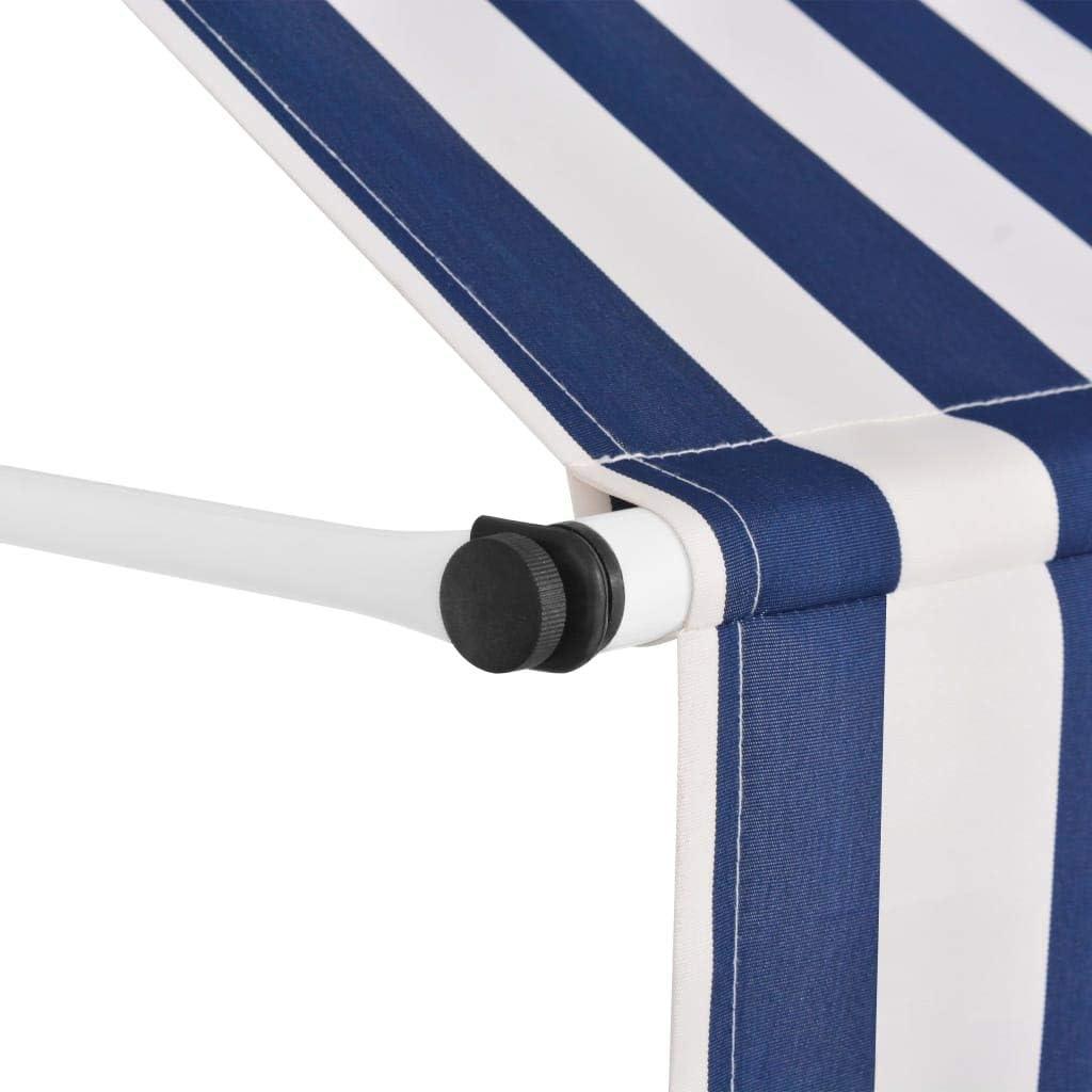 Tenda da Balcone 100 cm a Strisce Blu e Bianche Tidyard Tenda da Sole Retrattile Manuale